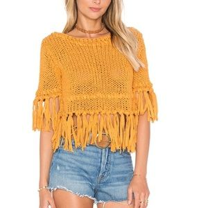 FREE PEOPLE Mustard Yellow Knitted Fringe Top